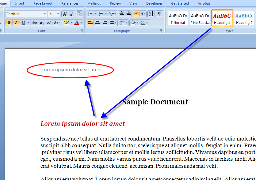 MS Word Running Header 1