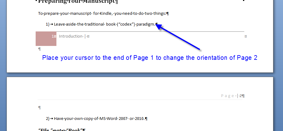 MS Word changing page orientation 1