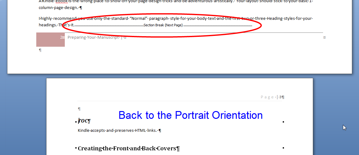 MS Word changing page orientation 6 Back to Portrait Orientation
