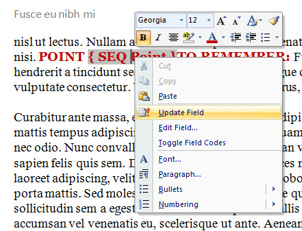 How to Insert an Independent Numbering Sequence into a MS Word 2007 Technical Document with SEQ Field Numbering Code 4