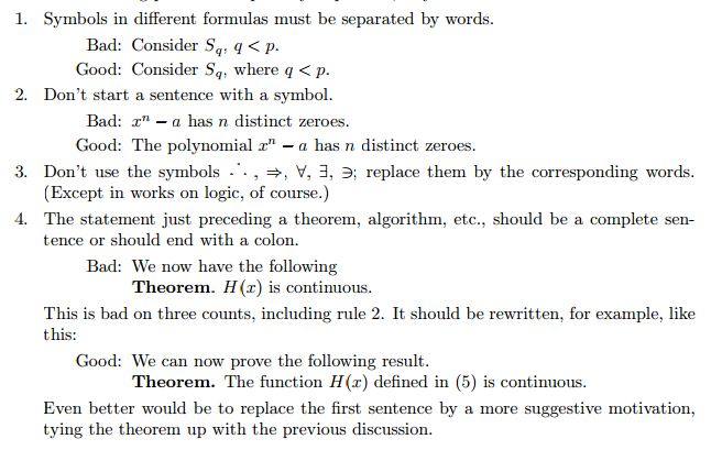 Mathematical Writing: A Great Style Guideline