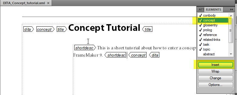 How to Create a DITA Concept Object in FrameMaker 9 (Part 2)