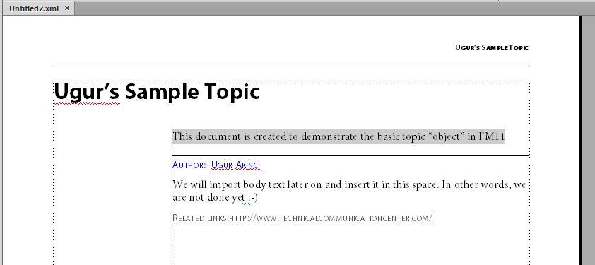 FrameMaker11 Topic Object 3