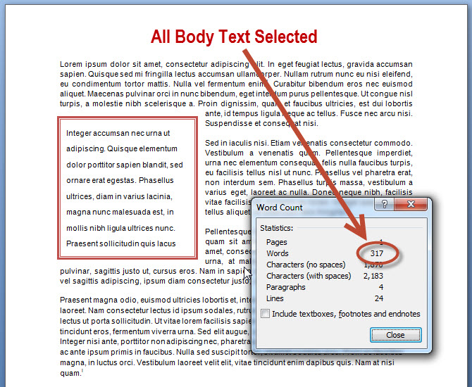 Different Word Count Options in MS Word 2007 and 2010