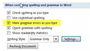 MS Word Mark Grammar Error as you type