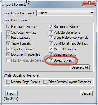 How to Import Adobe FrameMaker 11 Object Styles from one Document to Another