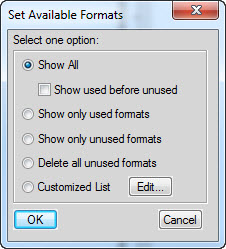 FRAMEMAKER Set Available Formats