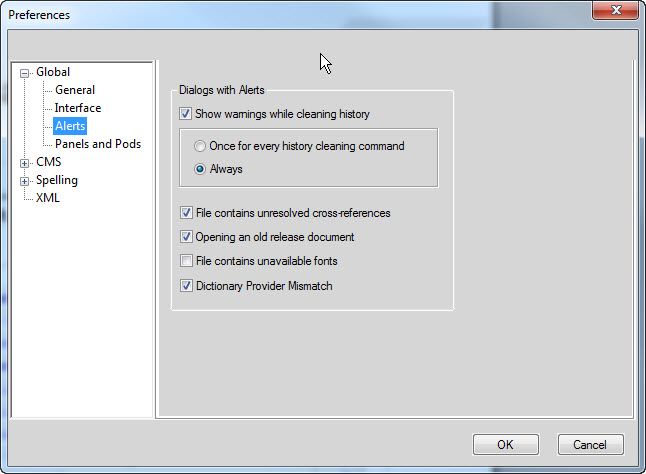 How to Suppress Alert Messages in FrameMaker Documents