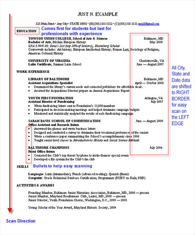 easy to scan resume. Resume Example. Resume CV Cover Letter