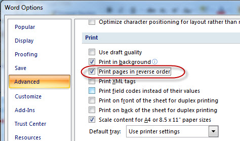 MS Word 2007 Print Pages in Reverse Order