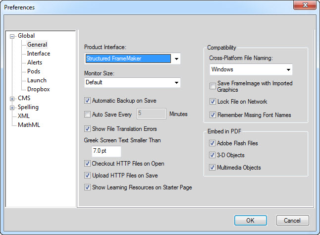 General Preference Settings for Adobe FrameMaker 12