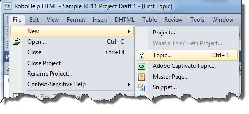 RoboHelp 11 File - New - Topic
