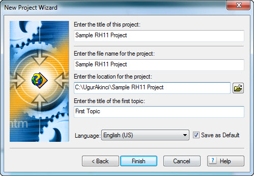 RoboHelp 11 New Project Wizard