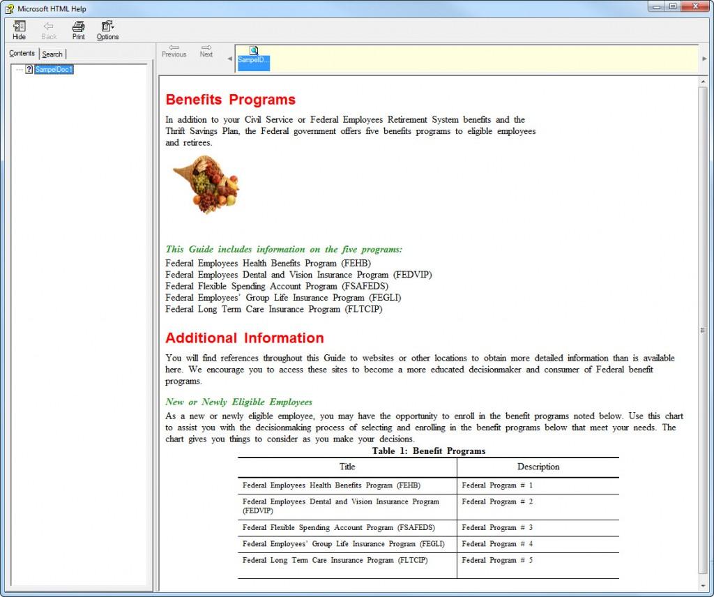 FrameMaker 12 Print OUTPUT 1 Microsoft HTML CHM