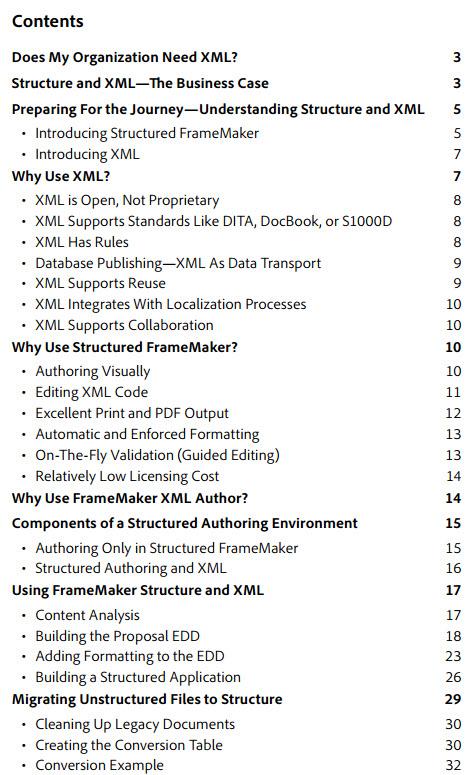 Hitchhikers Guide to XML Authoring TOC