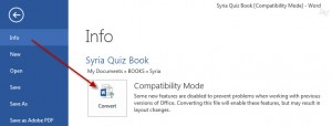 MS Word 2013 Compatibility Mode BUTTON