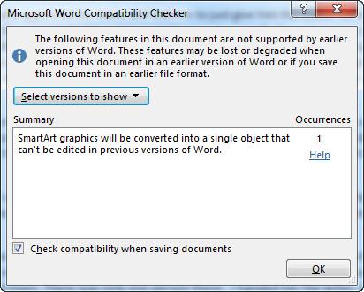 MS Word 2013 Compatibility Mode COMPATIBILITY CHECKER 2