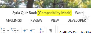 MS Word 2013 Compatibility Mode