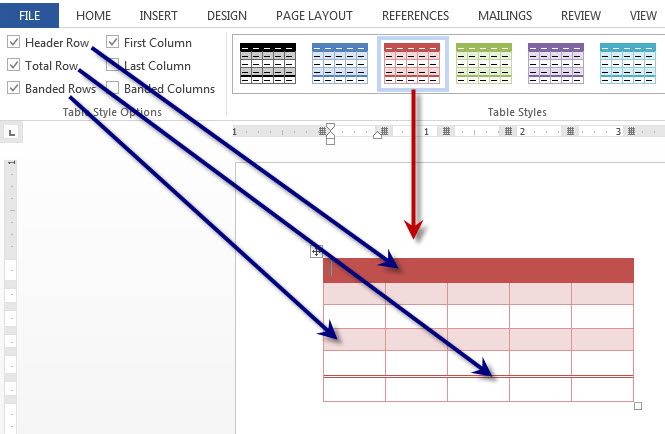 Ms Word 2013 Useful Table Design Features Technical