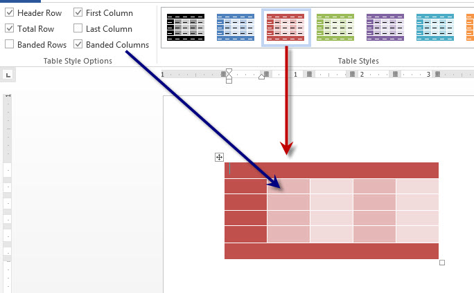 MS Word 2013 Table Design Options 2