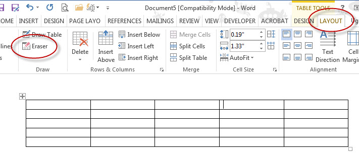 MS Word 2013 Table Eraser 1