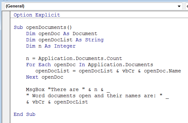 How to View a List of All Open MS Word Documents through VBA Macro