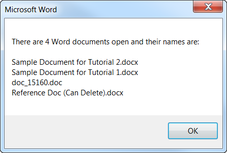 Word Documents Open MSGBOX